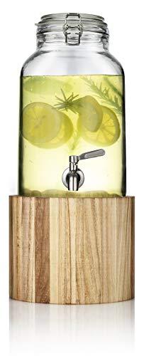 Mary´s Kitchen Tools Getränkespender 5,5 Liter aus Glas und Naturholz | mit Edelstahlzapfhahn | mit Holzständer | Wasserspender | Limonadenspender | Saftspender | Bowle | Dispenser (Lasiertes Holz)