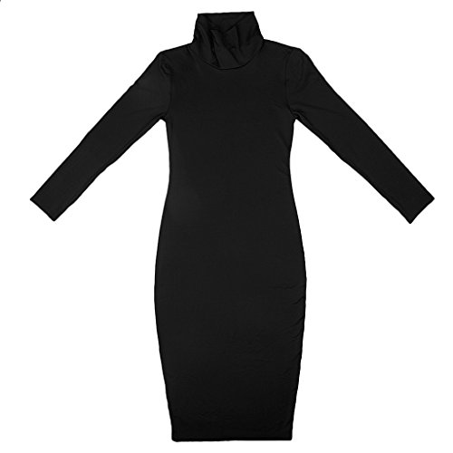 damen mode Rollkragen mini kleid langarm Bodycon Bleistift Kleid Business Cocktailkleid Schwarz