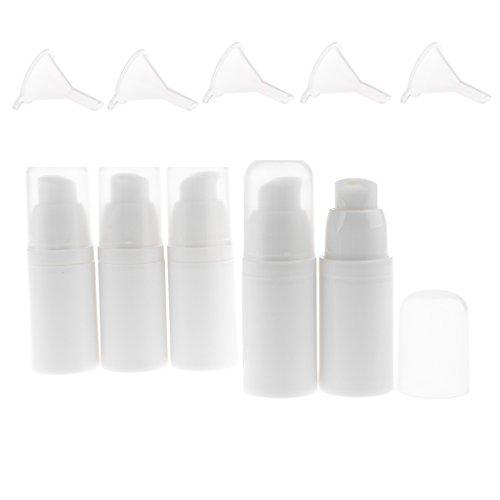 MagiDeal 5pcs 15ml Bouteilles Pompe Liquide Vide Flacon Vaporisateur en Plastique à Lotion Cosmétique / Crème / Sérum + 5pcs Entonnoirs - Idéal pour Voyage