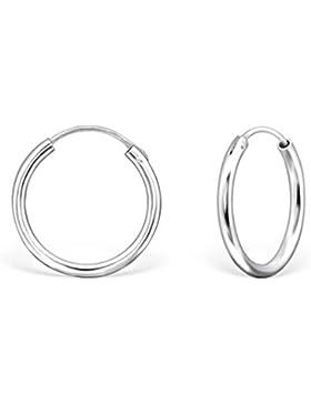 DTPsilver - Damen - Creolen - Ohrringe 925 Sterling Silber - Dicke 2 mm - Durchmesser 20 mm