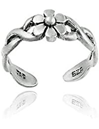 Sterling Silver Braided Daisy Flower Toe Ring