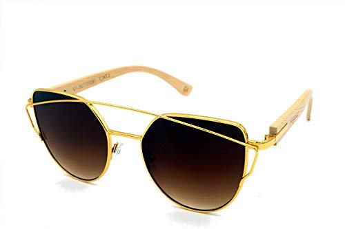 Vagance elegante Cateye Sonnenbrille mit Bambus Bügeln + Echtholz Box (Gold, Braun)