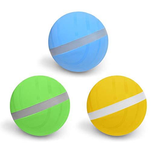 zhichu985 3PCS Dog Toys Balls, Cat Pet Led Jumping Activation Ball, Light Up Dog Ball, 2 Inch Waterproof Flashing Sensory Spike Blinking Toys, Automatically Change Direction -