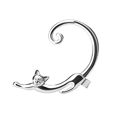 ANMEIKAI Einzelstück Punk Style Gold Versilbert Cat Post Ohrring Cartoon Ear Cuff Rock Animal Schwarz Ohrstecker   , Silber (Cat-post-ohrringe)