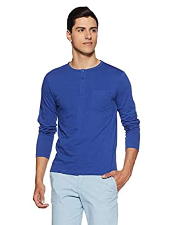 Amazon Brand - Symbol Men's Plain Regular Fit T-Shirt (AW18ALK7C_Blue Md Solid_S)