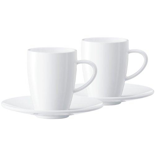 Jura 66499 Kaffeetassen 2-er Set inklusiv Unterteller, Porzellan, weiß, 9.5 x 6.5 x 8 cm
