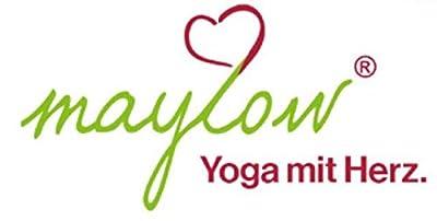 maylow Yoga mit Herz - Yogakissen Meditationskissen mit Stickerei Blume des Lebens 33x10 cm, Mehrfarbig (apfelgrün / schwarz)