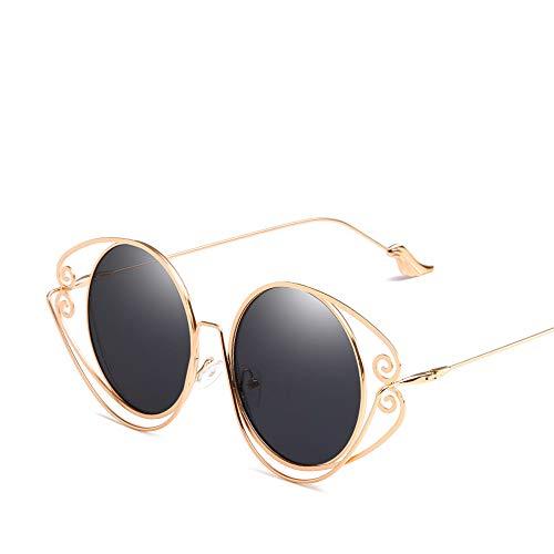 WLNKJ Sonnenbrillen, Neue Persönlichkeit Runden Rahmen Unregelmäßigen Metall Sonnenbrillen, Flügel Spiegel Beine Trend Sonnenbrille Frauen,B
