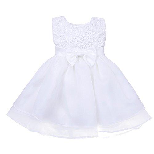 Tiaobug Baby Kleid für Mädchen weiß Taufkleider - baby festliche Kleider für Hochzeit Kommunionkleider 6-24 Monate Weiß 68-74 - 7