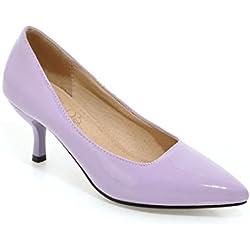 Frauen Niedrige Ferse Spitze Zehe Süßigkeit Farbe der Pumps Schuhe (37, lila)