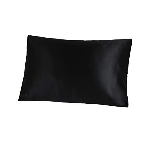 Jasmine Silk Kissenbezug, 100% 19 Momme Charmeuse Seide Kissenbezug Schwarz 50x75cm -
