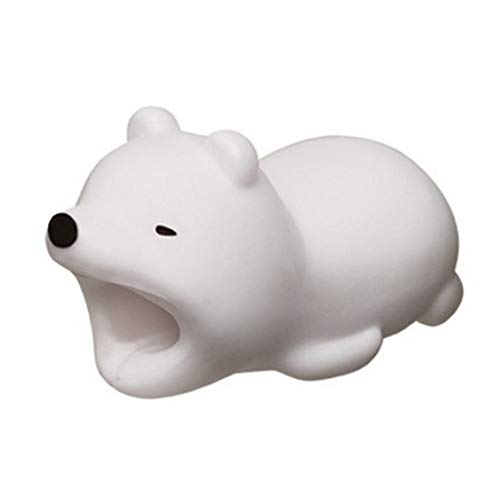 EDTara 3D Cartoon Animal Cable Protector Bite for Cable Line Little White Bear
