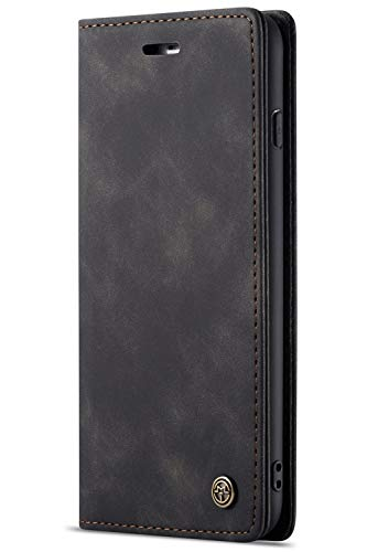 Handyhülle, Premium Leder Flip Schutzhülle Schlanke Brieftasche Hülle Flip Case Handytasche Lederhülle mit Kartenfach Etui Tasche Cover für iPhone 7/8, 7/8Plus - 7 Leder