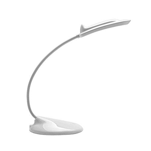 E-Plaza Portabile Ricaricabile LED Scrivania Lampada Tavola Leggero con Flessibile Collo Sensibile al tocco 3 Livello di Luminosità Migliore per Computer Computer portatile Tastiera Addormentato (Bianco)