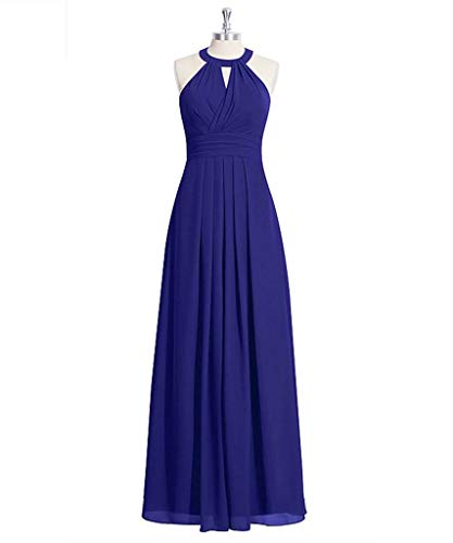 KAIDUN Damen Schulterfrei Chiffon Abendkleider Lang Brautjungfern Kleid Royal Blue 42