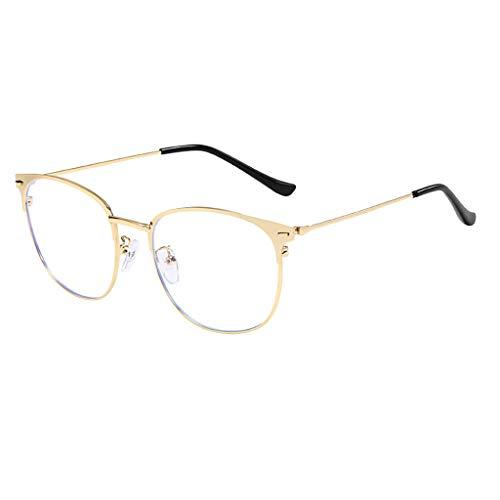 CANDLLY Brille Damen, Unisex Lichtblock Brille Runde Optische Brillen Brillen ohne Brillengestell Retro Matte Frau flachen Spiegel Metall Gläser Zubehör(Gold,One Size