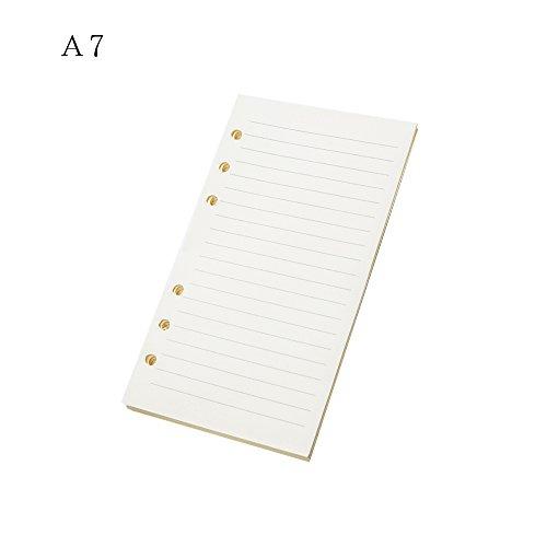 gertong 1PCS Ersatzminen Papier 6Löcher A712,3cm x 8,2cm für Binder Loose Leaf Notizbuch Planer 45Blatt/90Seiten pro Pack, Grid, Papier weiß A7-Horizontal line weiß