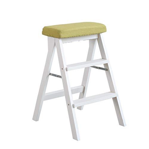 LWZ-Leitern WZ-Klappstufen Dual-Use Ladder Hocker Holz Faltbare Anti Slip Home Bibliothek 3 Schritte 150 kg Kapazität Waschbar Pad (weißes Bein) (Farbe : Green)
