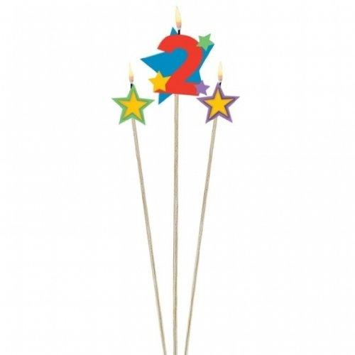 3Cumpleaños velas estrellas con número Decoración