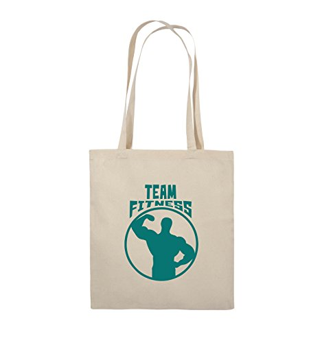 Comedy Bags - TEAM FITNESS - Jutebeutel - lange Henkel - 38x42cm - Farbe: Schwarz / Silber Natural / Türkis