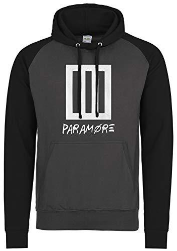 LaMAGLIERIA Unisex- Baseball Hoodie Paramore New Logo White Print - Kapuzenpullover Punk Rock Band, L, Charcoal/Jet Black -