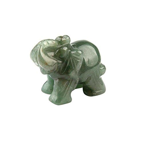 STRIR Tallado a Mano Verde Aventurina Jade Stone Craving Lucky Elefante Feng Shui Estatua,37 * 30x20 mm (1.5x1.2x0.5 pulgadas)