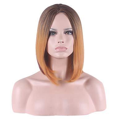 FUHOAHDD in der Teilverteilungstyp Kurze bobo glattes Haar synthetische Perücke, Dark Auburn (Auburn Haar Perücke)
