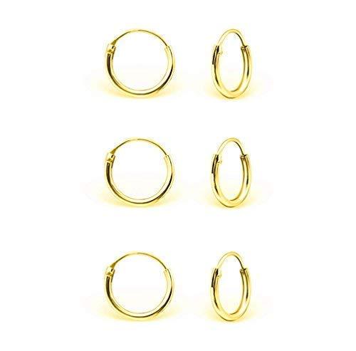 DTPsilver - Damen - Klein Creolen - Ohrringe 925 Sterling Silber und Gelb Vergoldet Set Paare 3 - Dicke 1.2 mm - Durchmesser 10 mm