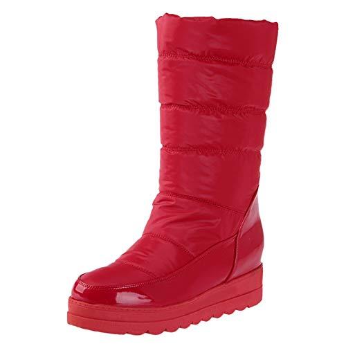 Makefortune  Damen Winter Schneeschuhe Wasserdicht Warme Daunen Pelz Gefüttert Keil Plateau Wadenmitte Stiefel Rutschhemmend