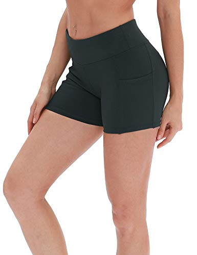icyzone Damen Tights Shorts Sport Kurze Hosen - Laufshorts Fitness Yoga Leggings (S, Dark Green) (Shorts Spandex-hot)