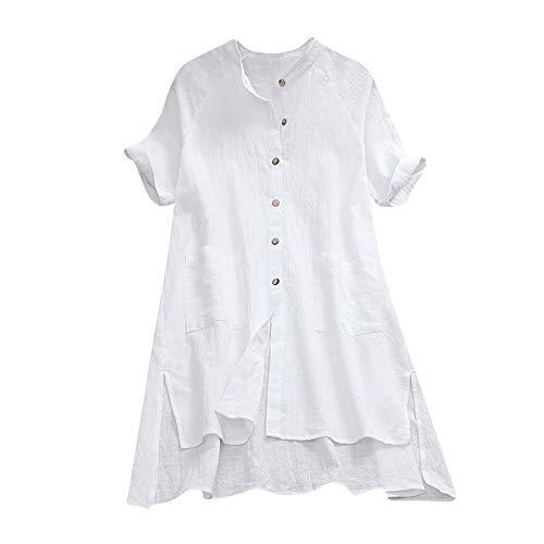 al Leinen Plue Größe Böhmen Print Spitze Splice Pocket Lady Long Dress ()