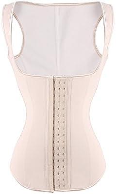 FeelinGirl - Corsé de látex para mujer con cremallera y ganchos, ballenas de acero en la cintura