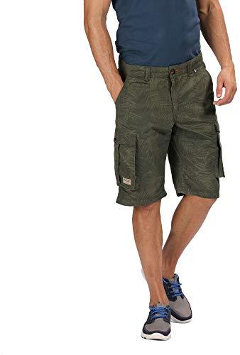 Twill Herren Cargo Pocket Shorts (Regatta Herren Shorebay Coolweave Cotton Multi Pocket Cargo Style Short, Grape Leaf Camo, 33-inch)