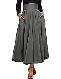 bcb21b9bc4844 Dokotoo Jupe Femme Longue Haute Taille Casual Plissé Maxi Belted Jupe de  Plage avec Deux Poches