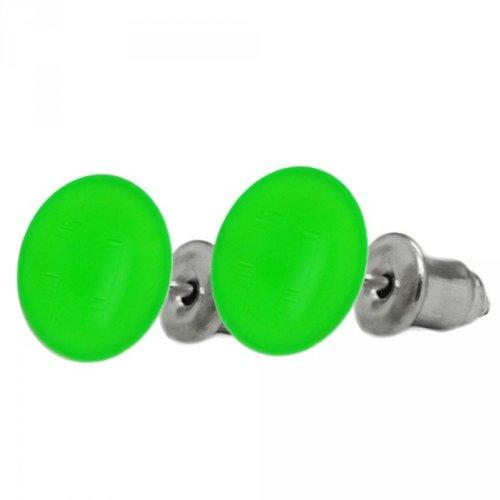 1 Paar Ohrstecker neon UV aktive Ohrringe leuchtend bunt, Farbe:grün