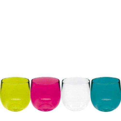 Zak Designs 2012-650 Set de 4 Verres à Liqueur Ballon Stacky Aqua 6 cl