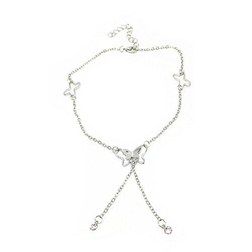 Hosaire 1X Cavigliera da Donna da ragazza farfalle nappe braccialetto di caviglia del piede catena in argento Descalzo Sandalia Playa accessori regolabile Size 21.5+ 5cm