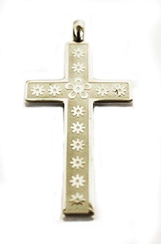 Für Damen oder Herren Unisex Blumenmuster Rand rechts Edelstahl Anhänger Kreuz auf Halskette Kordel schwarz 45,7cm Fashion - Schmuck Womens Celtic