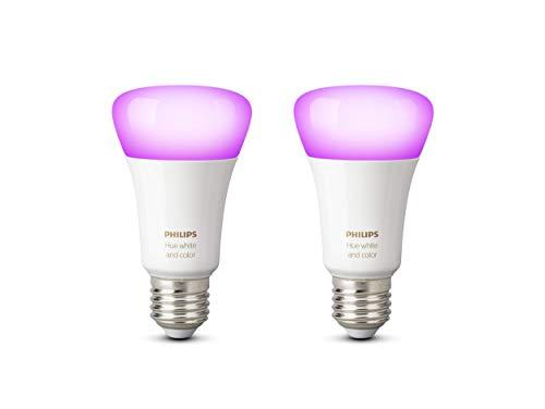 Philips Hue Pack de 2 ampoules connectées White & Color E27 - Fonctionne avec Alexa