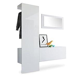 Vladon Garderobe Wandgarderobe Carlton Set 4, Korpus in Weiß matt/Paneel in Weiß Hochglanz