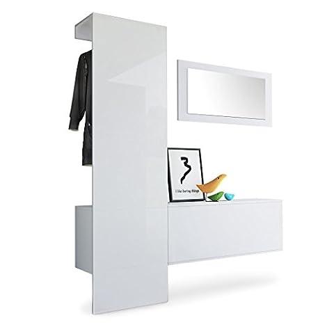 Garderobe Wandgarderobe Carlton Set 4, Korpus in Weiß matt / Paneel in Weiß Hochglanz