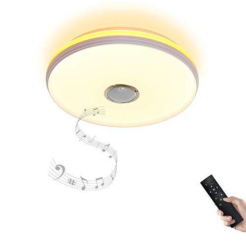 Bluetooth Deckenleuchte Dimmbar mit Fernbedienung and Bluetooth Lautsprecher 24W Ø40CM mit orangefarbenem Ring fürWohnzimmer,Schlafzimmer,KücheundEsszimmerJDONG X5051C-30W-LYN