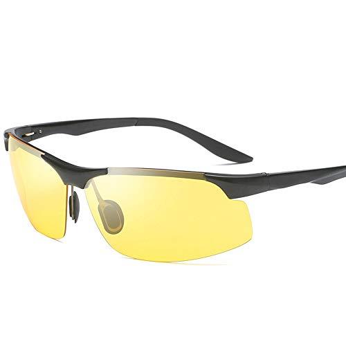 GXM-FR Autofahrerbrille, farbwechselnde Anti-Blu-Ray-UV400-Nachtsichtbrille, Herren-Tag- und Nachtfahrbrille, Angeln, polarisierte Outdoor-Sport-Sonnenbrille,Black