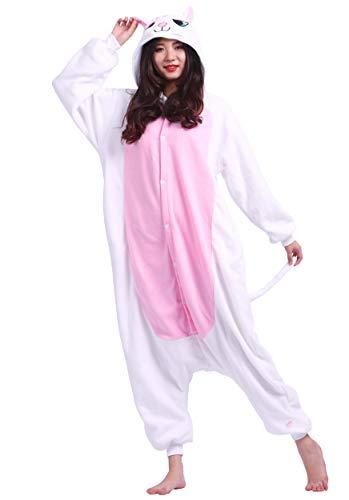 Jumpsuit Onesie Tier Karton Kigurumi Fasching Halloween Kostüm Lounge Sleepsuit Cosplay Overall Pyjama Schlafanzug Erwachsene Unisex Weiß Katze for Höhe 140-187CM (In Die Kostümen Halloween-katze, Den)
