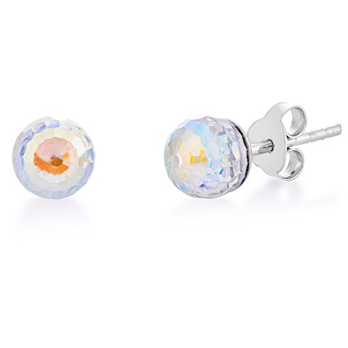 DTPSilver -Damen Ohrstecker Kugel 925 Sterling Silber mit Kristallen von Swarovski® Elements 8 mm - Farbe : Aurore Boreale