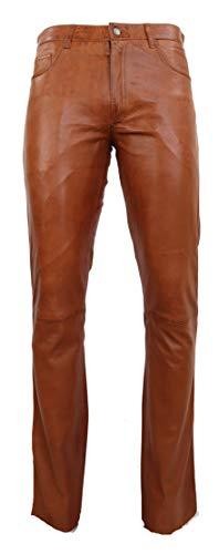 RICANO Slim Fit, Herren Lederhose in 5-Pocket Jeans Optik aus echtem Lamm Nappa Leder (Glattleder) (Schwarz,...