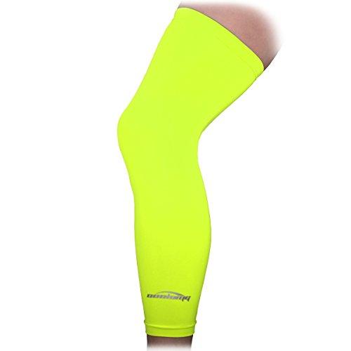 COOLOMG recuperación de la compresión de la rodilla de la manga rodilla de la cubierta Correr Fluorescente Verde XL