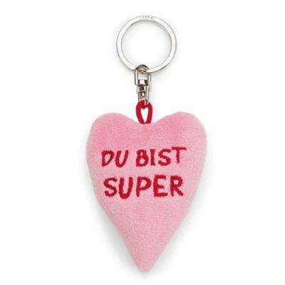 Nici Schlüsselanhänger Plüsch Herz Du bist super rosa 6 cm Bean Bag Muttertag