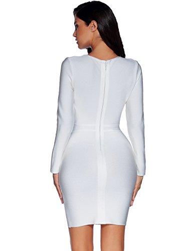 Meilun Le Buste De Taille Des Manches Longues Vider Bandage Automne Robe Blanc