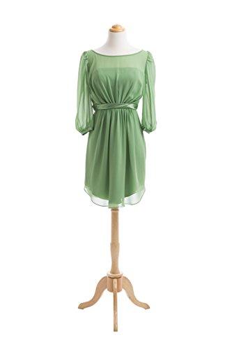 Robe courte avec manches mousseline Vert